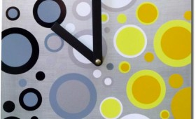 8 x 8 Yellow, Black, and Silver Dot Clock