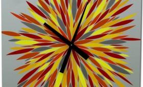 24 x 24 Red, Orange, Yellow, and Grey Burst Clock