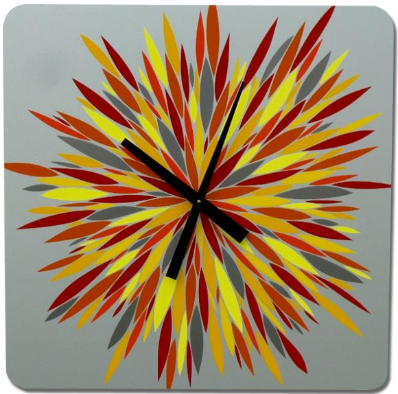 Extra large red, orange and yellow burst clock