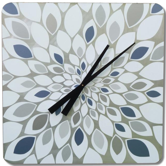 white, grey and blue petal burst clock