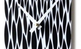 6 x 30 Black and White Orzo Drops Clock