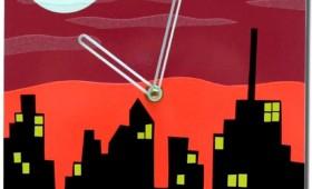 8 x 8 Sunset Cityscape Clocks