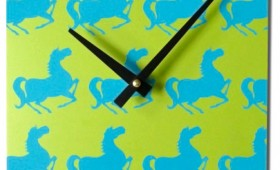 8 x 8 Green and Turquoise Horse Pattern Clock