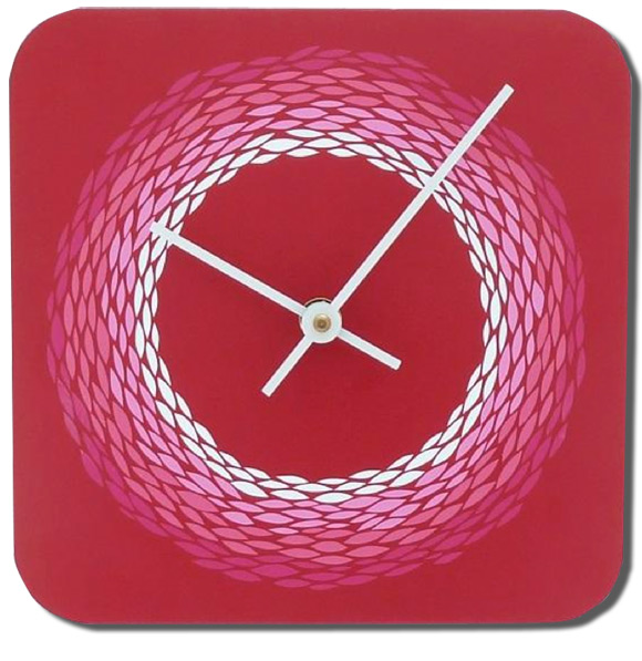 Pink Circle Ombre Mini Clock, 8 x 8""