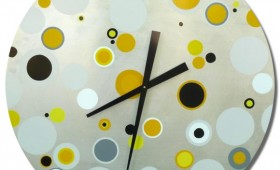 30 Inch Yellow, Grey, and Black Dot Circle Clock