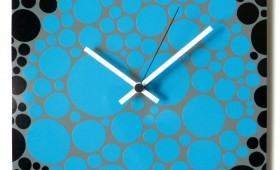 12 x 24 Grey, White, and Blue Dots Clock