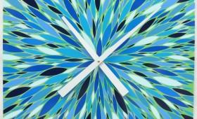 24 x 24 Blue and Green Orzo Burst Clock